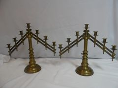 Candelabras :  Pair.  Antique adjustable and heavy