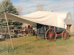 Chuck wagon:  Set up with canvas awning
