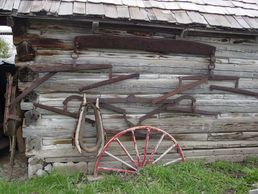 Steel hitch equipment:  4 horse and a 3 horse.  Hames,  buggy wheel