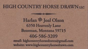 Business Card:  High Country Horse Drawn llc
