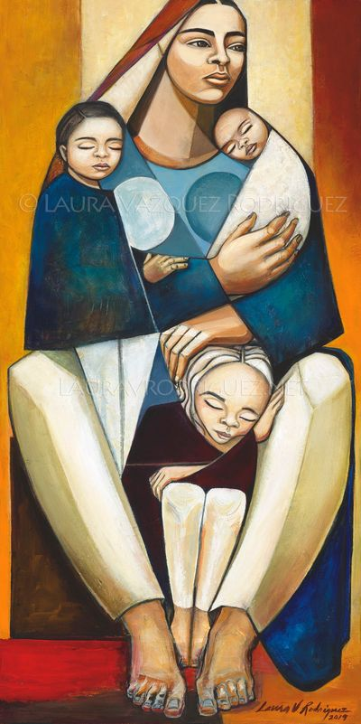 Inseparable, Art by Laura V. Rodriguez, Mother and her three Children.