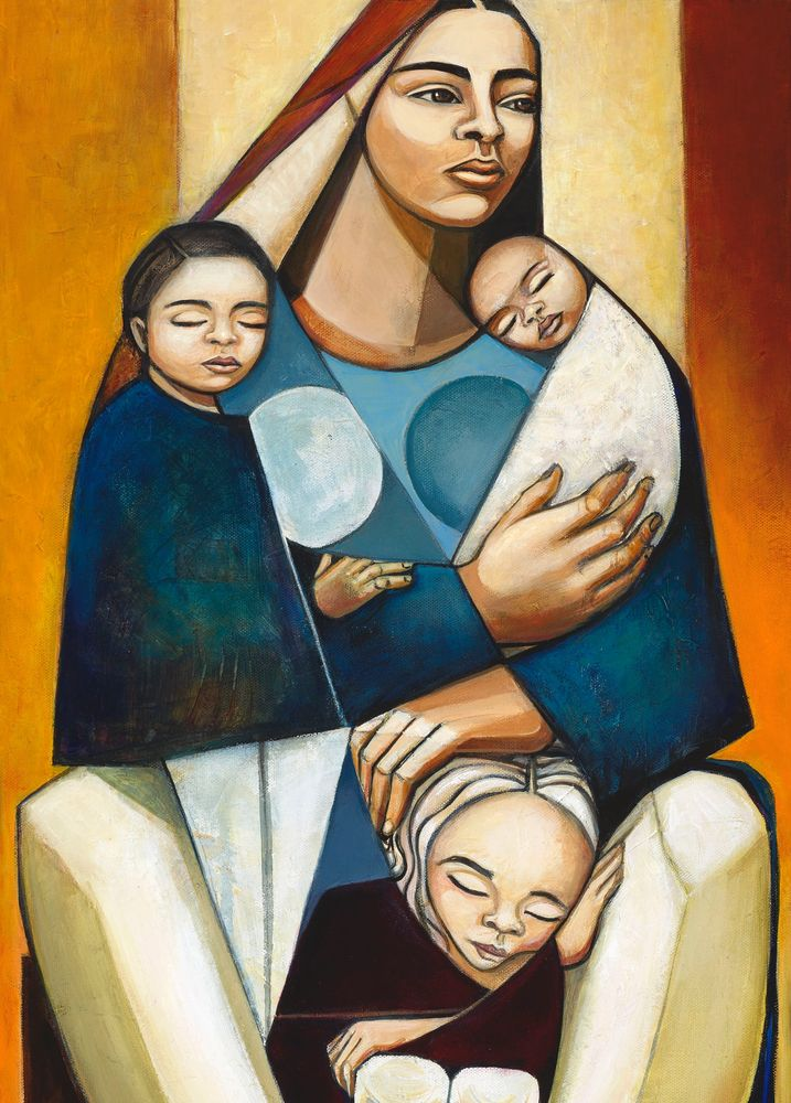 Laura V. Rodriguez, Inseparable Painting, Mother & Child Paintings, Latina Artists in Los Angeles