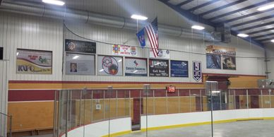 Loft Window Sign Centennial Center Advertising Sponsorship Ice Arena Grafton Parks and Recreation ND