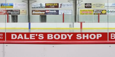 Ice Rink Glass Sign Centennial Center Advertising Sponsorship Grafton Parks and Recreation ND