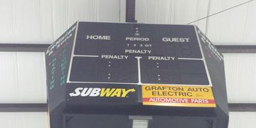 Scoreboard Sign Centennial Center Advertising Sponsorship Ice Arena Grafton North Dakota