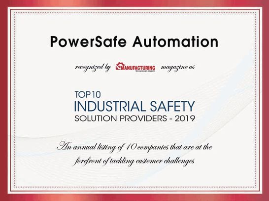 PowerSafe Automation named top 10 industrial safety solutions provider for 2019.