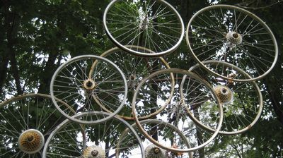 Art made from bicycle wheels greets visitors along the Great Allegheny Passage.