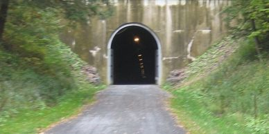 The view of the western entrance to the Big Savage Tunnel.