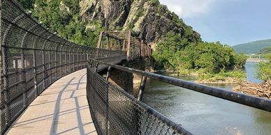 Pedestrian bridge connecting Harpers Ferry to the C and O Canal