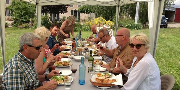 A Lunch Group at Clos Vieux Rochers Vineyard and Accommodation ​The Heart of Frances Wine Region