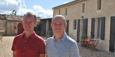 Rob and Steve owners Clos Vieux Rochers Vineyard Accommodation in  ​The Heart of Frances Wine Region