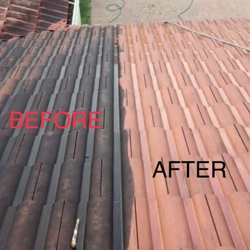 Tile roof cleaning service
