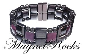 Quad Jewelry Collection Amethyst Magnetic Hematite Bracelet.