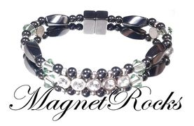 Elegant Jewelry Collection Peridot Crystal, Rhinestone and Magnetic Hematite Bracelet