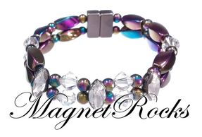 Enchanted Jewelry Collection Clear and Clear Crystal Rainbow Hematite Magnetic Bracelet.