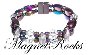 Enchanted Jewelry Collection Clear and Clear Crystal Rainbow Magnetic Hematite Bracelet