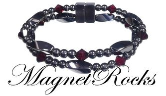 Allure Jewelry Collection Siam Crystal Magnetic Hematite Bracelet