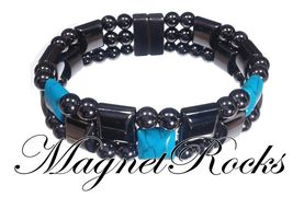 Triple Threat Jewelry Collection Blue Turquoise Magnetic Hematite Bracelet