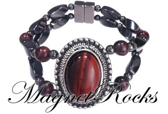 Victorian Jewelry Collection Red Tiger Eye Magnetic Hematite Bracelet