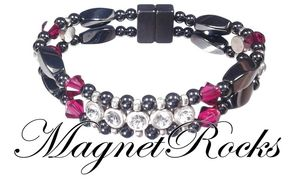 Elegant Jewelry Collection Ruby Crystal, Rhinestone and Magnetic Hematite Bracelet