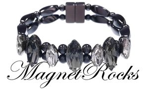 Mystic Jewelry Collection Black Diamond Crystal Magnetic Hematite Bracelet