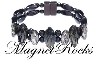 Mystic Jewelry Collection Black Diamond Crystal Magnetic Hematite Bracelet.