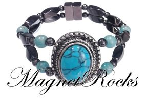 Victorian Jewelry Collection Turquoise Hematite Magnetic Bracelet.