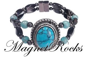 Victorian Jewelry Collection Turquoise Magnetic Hematite Bracelet
