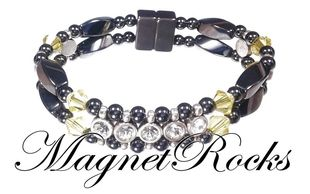 Elegant Jewelry Collection Citrine Crystal, Rhinestone and Magnetic Hematite Bracelet