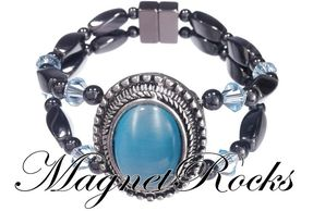 Victorian Jewelry Collection Aquamarine Crystal Magnetic Hematite Bracelet.