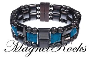 Quad Jewelry Collection Blue Turquoise Magnetic Hematite Bracelet