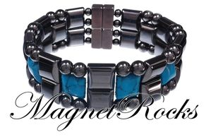 Quad Jewelry Collection Blue Turquoise Hematite Magnetic Bracelet.
