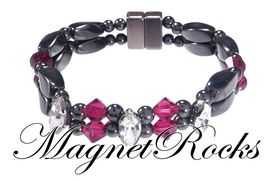 Enchanted Jewelry Collection Ruby and Clear Crystal Magnetic Hematite Bracelet