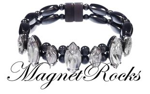 Mystic Jewelry Collection Clear Crystal Magnetic Hematite Bracelet