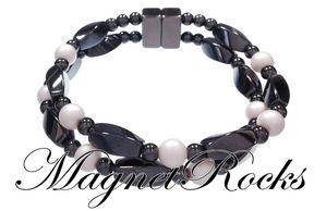 Infinity Jewelry Collection Crystal White Pearl Magnetic Hematite Bracelet