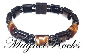 Beautifully Bold Jewelry Collection Golden Tiger Eye Magnetic Hematite Bracelet.