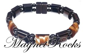 Bold Jewelry Collection Golden Tiger Eye Hematite Magnetic Bracelet.