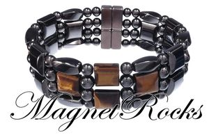 4x4 Jewelry Collection Golden Tiger Eye Hematite Magnetic Bracelet.