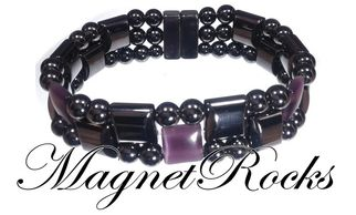 Triple Threat Jewelry Collection Amethyst Magnetic Hematite Bracelet