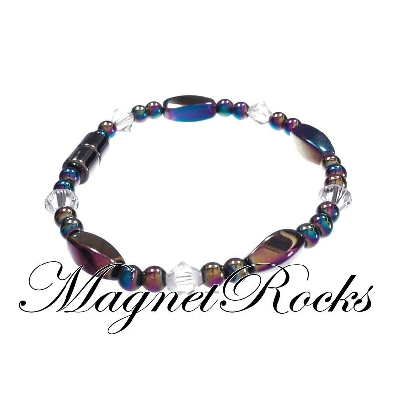 Simply Seductive Jewelry Collection Clear Crystal Rainbow Magnetic Hematite Bracelet