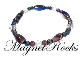 Seductive Jewelry Collection Clear Crystal Rainbow Hematite Magnetic Bracelet.