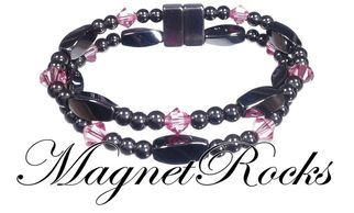 Allure Jewelry Collection Rose Crystal Magnetic Hematite Bracelet