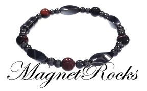Simply Seductive Jewelry Collection Red Tiger Eye Magnetic Hematite Bracelet