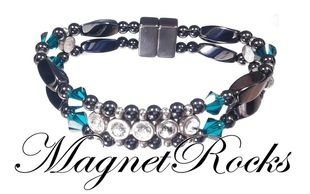 Elegant Jewelry Collection Emerald Crystal, Rhinestone and Hematite Magnetic Bracelet.