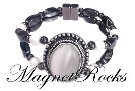 Victorian Jewelry Collection Pearlescent White Pearl Magnetic Hematite Bracelet