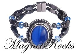 Victorian Jewelry Collection Sapphire Crystal Magnetic Hematite Bracelet