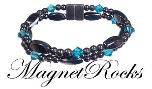 Allure Jewelry Collection Blue Zircon Crystal Magnetic Hematite Bracelet