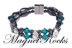 Enchanted Jewelry Collection Emerald and Clear Crystal Hematite Magnetic Bracelet.