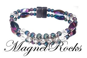 Elegant Jewelry Collection Clear Crystal, Rhinestone and Rainbow Hematite Magnetic Bracelet.