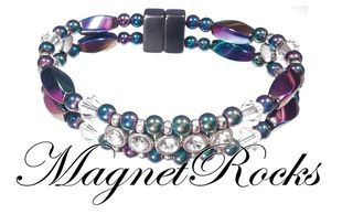 Elegant Jewelry Collection Clear Crystal, Rhinestone and Rainbow Magnetic Hematite Bracelet.
